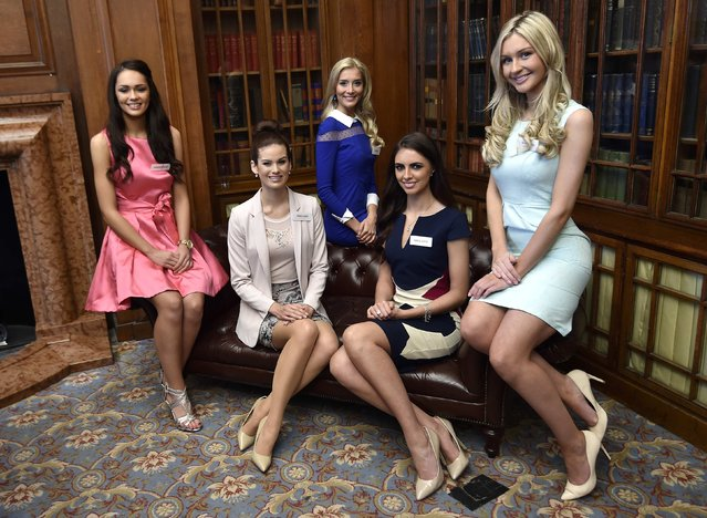 Miss World finalists (L-R) Rebekah Shirley of Northern Ireland, Carina Tyrrell of England, Alice Ford of Wales, Jessica Hayes of Ireland and Ellie McKeating of Scotland pose during a publicity launch in central London November 25, 2014. The final of the 2014 edition of the pageant will take place in London on December 14. (Photo by Toby Melville/Reuters)