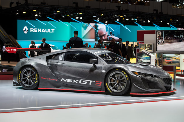 Honda NSX GT3 is displayed at the 88th Geneva International Motor Show on March 6, 2018 in Geneva, Switzerland. Global automakers are converging on the show as many seek to roll out viable, mass-production alternatives to the traditional combustion engine, especially in the form of electric cars. The Geneva auto show is also the premiere venue for luxury sports cars and imaginative prototypes. (Photo by Robert Hradil/Getty Images)