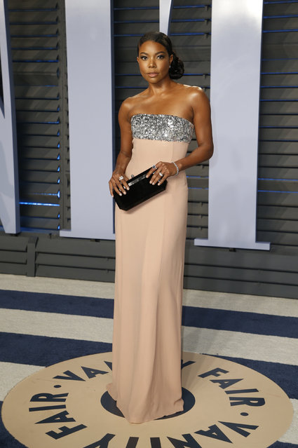 Gabrielle Union attends the 2018 Vanity Fair Oscar Party hosted by Radhika Jones at the Wallis Annenberg Center for the Performing Arts on March 4, 2018 in Beverly Hills, California. (Photo by Danny Moloshok/Reuters)