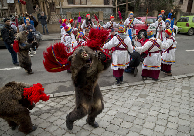Children from Dofteana, northern Romania, some wearing bear furs, dance while performing a holiday season ritual in Bucharest, Romania, Tuesday, December 23, 2014. In pre-Christian rural traditions, dancers wearing colored costumes or animal furs, touring house to house in villages singing and dancing to ward off evil. (Photo by Vadim Ghirda/AP Photo)