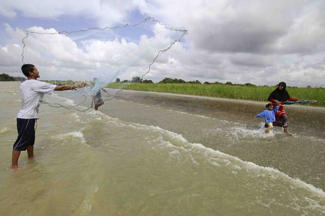 A man casts a fishing net as local residents make their way on a flooded road in the Pattani province December 27, 2014. Many parts of the southern province remain flooded after recent heavy rains, local media reported. (Photo by Surapan Boonthanom/Reuters)