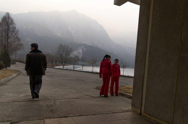 Women in Uniform at the Sinpyong Lake rest stop; aproximately half way between Pyongyang and Wonsan, Feburary 2012. (Eric Testroete)