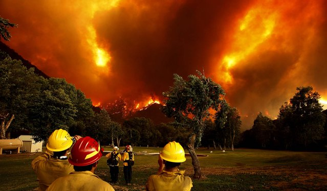 Firefighters watch as the Powerhouse fire closes in around them at the Canyon Creek Complex sports camp on June 1, 2013. (Photo by David McNew/Getty Images)