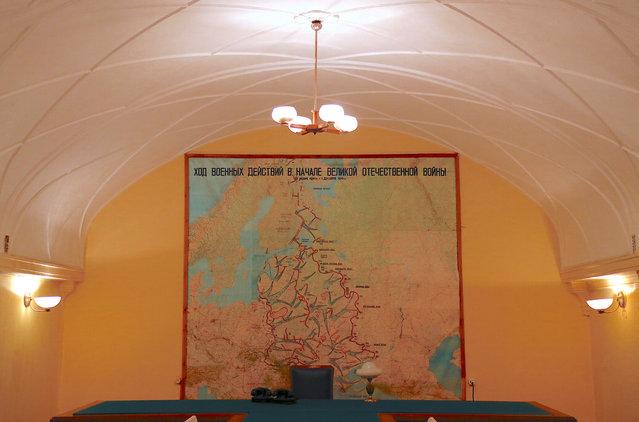 A meeting room with a large map hanging on a wall is seen inside Stalin's Bunker in Samara, Russia, on Tuesday, June 26, 2018. (Photo by David Gray/Reuters)