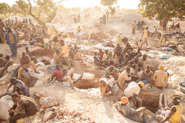 This artisanal gold site in Burkina Faso was home to some 10,000 people. And while these locations can be home to some of the more difficult aspects of humanity (extremism, organised crime, environmental degradation, slavery, etc.) they also provide unique upward mobility pathways for people to move from extreme poverty and into more skilled vocations such as those we are used to in the developed world. (Photo by Hugh Brown/South West News Service)