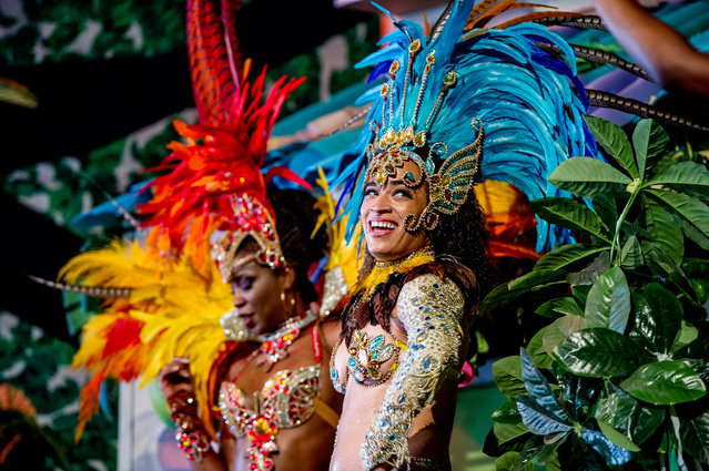 Dancers performing in the Sambodromo do Brasil jungle party in the Cave stage, Elrow Town at Queen Elizabeth Olympic Park on August 18, 2018 in London, England. (Photo by Ollie Millington/Redferns)