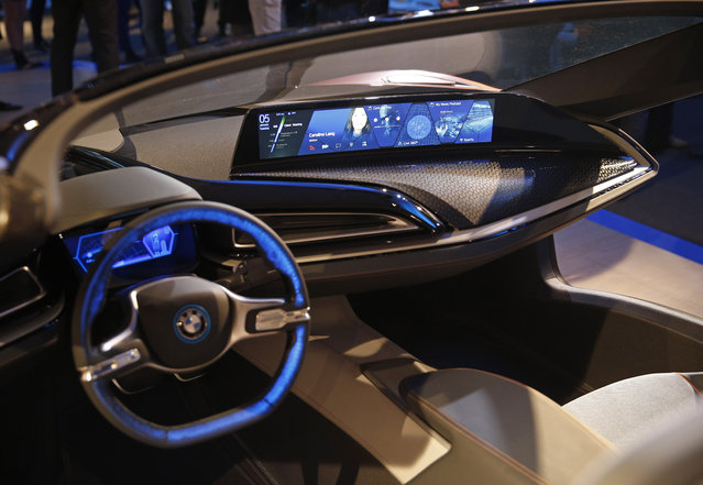 The dashboard of  the BMW i Vision Future Interaction concept car is on display during a news conference at CES Press Day at CES International, Tuesday, January 5, 2016, in Las Vegas. (Photo by John Locher/AP Photo)