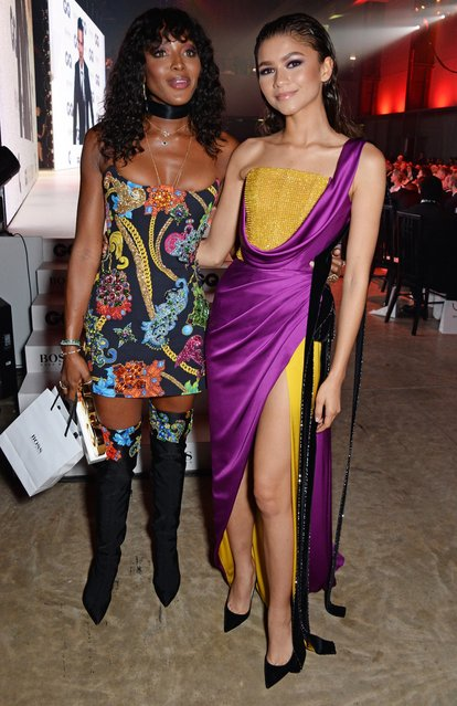 Naomi Campbell, winner of Fashion Icon of the Year, and Zendaya and attends the GQ Men of the Year Awards 2018 in association with HUGO BOSS at Tate Modern on September 5, 2018 in London, England. (Photo by David M. Benett/Dave Benett/Getty Images for Hugo Boss)