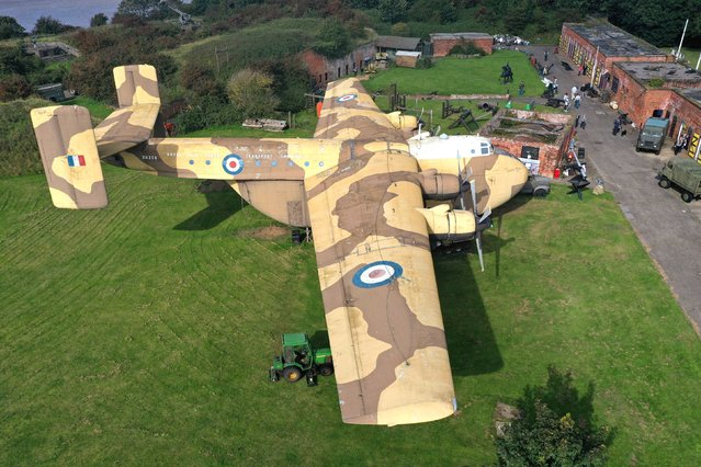 Aerial view of the only remaining RAF XB259 Blackburn Beverley C1 heavy transport plane during a preview for the auction of the contents of the Fort Paull Museum, a Napoleonic fort in Holderness, East Yorkshire, which closed earlier this year, on September 17, 2020. (Photo by Owen Humphreys/PA Images via Getty Images)