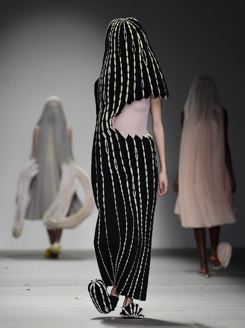 Models display creations by Central Saint Martins at London Fashion Week, February 20, 2015. (Photo by Toby Melville/Reuters)