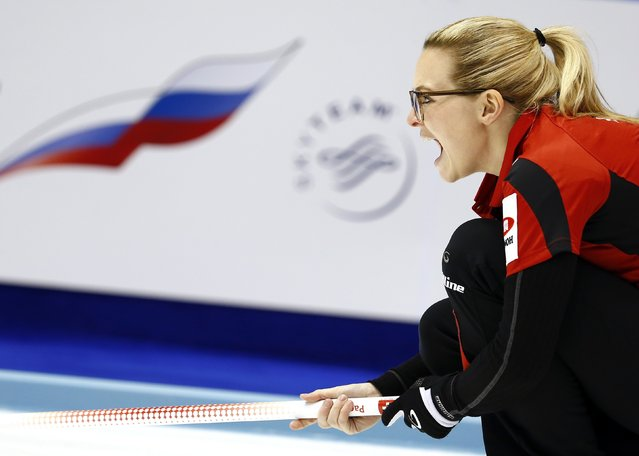 Switzerland's skip Alina Paetz instructs her teammates during their curling round robin game against Germany at the World Women's Curling Championships in Sapporo March 15, 2015. (Photo by Thomas Peter/Reuters)
