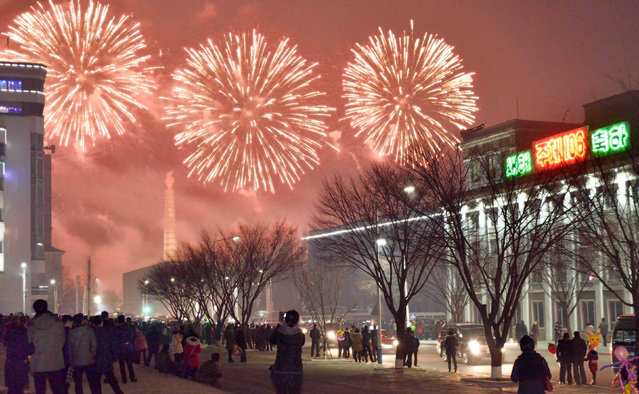 Fireworks are seen above Pyongyang, North Korea on New Year day in this photo provided by KCNA in Pyongyang on January 1, 2017. (Photo by Reuters/KCNA)