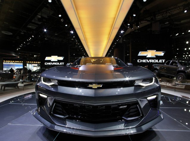 A 2017 Chevrolet Camaro SS convertible is displayed during the North American International Auto Show in Detroit, Michigan, U.S., January 10, 2017. (Photo by Brendan McDermid/Reuters)