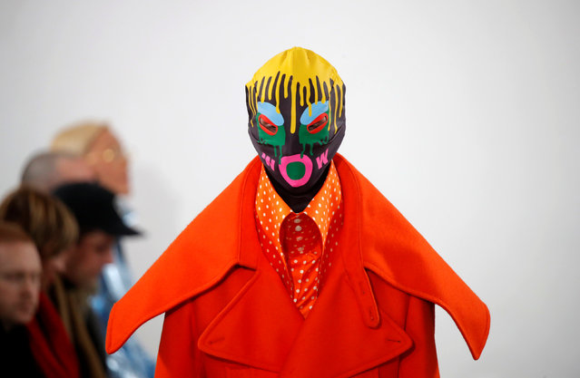 A model presents a creation by designer Walter Van Beirendonck as part of his Fall/Winter 2019-2020 collection show during Men's Fashion Week in Paris, France, January 16, 2019. (Photo by Charles Platiau/Reuters)