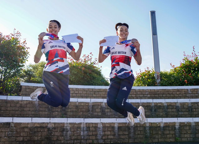 Olympic medal winning twins Jessica (left) and Jennifer Gadirova celebrate their GCSE results at Aylesbury Vale Academy in Buckinghamshire, United Kingdom onThursday, August 12, 2021. (Photo by Steve Parsons/PA Images via Getty Images)
