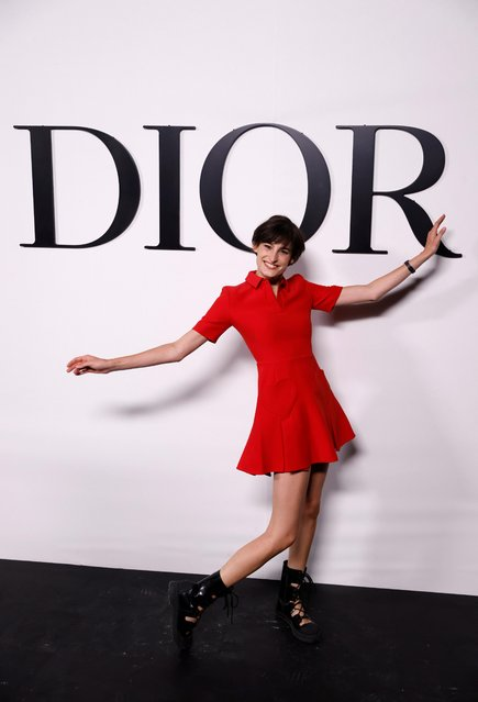 Inès de La Fressange's daughter Nine d'Urso poses during a photocall before Dior Spring/Summer 2022 women's ready-to-wear collection show during Paris Fashion Week in Paris, France, September 28, 2021. (Photo by Stephane Mahe/Reuters)