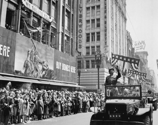 U.S. Army General George S. Patton acknowledges the cheers of the welcoming crowds during his visit in Los Angeles, California, on June 9, 1945, in this handout photo provided by the United States National Archives and Records Administration. Seventy years ago, following the suicide of Nazi leader Adolf Hitler. (Photo by Reuters/United States National Archives and Records Administration)