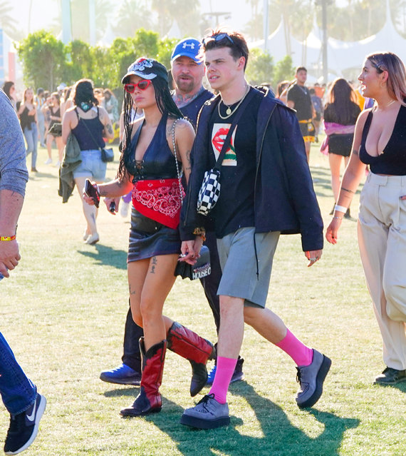 Halsey holds hands with her love Yungblud when walking to see Solection at 2019 Coachella Festival in Indio, CA on April 13, 2019. (Photo by Splash News and Pictures)