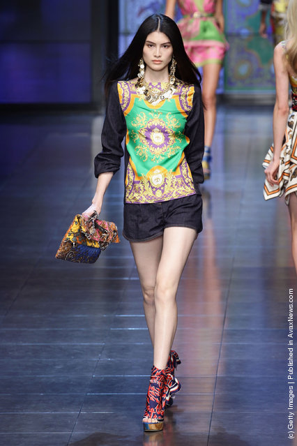 A model walks the runway at the last D&G fashion show as part of Milan Fashion Week Womenswear Spring/Summer 2012
