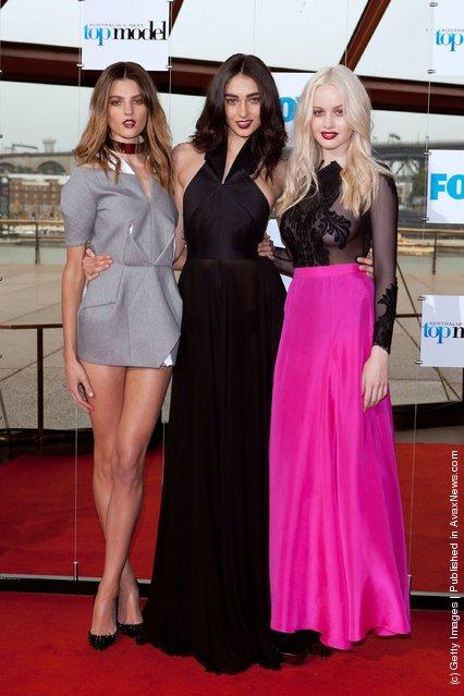 Finalists Montarna Cox, Liz Braithwaite and Simone Holtznage attends Australia's Next Top Model Season 7 live finale