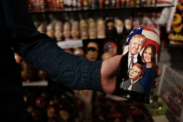 A traditional Russian nesting doll painted with the likeness of President of Donald Trump and his family is displayed for sale at a Moscow store on March 5, 2017 in Moscow, Russia. Relations between the United States and Russia are at their lowest point in years as evidence mounts about the complex relationship between President Donald Trump's administration and the Russian government. (Photo by Spencer Platt/Getty Images)