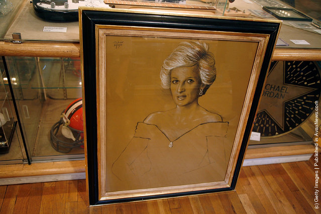 An original drawing of Princess Diana used for her Royal Hussars official portrait