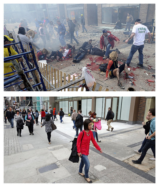 This combination of April 15, 2013  and April 10, 2014 photos show views of Boylston Street with people on the ground after the first of two bombs exploded near the finish line of the 2013 Boston Marathon, then pedestrians walking along the same sidewalk almost a year later in Boston. (Photo by Ken McGagh/Elise Amendola/AP Photo/MetroWest Daily News)