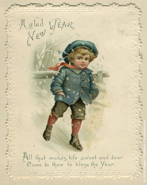 1871: A young boy skating over ice, on this sentimental Victorian Christmas card