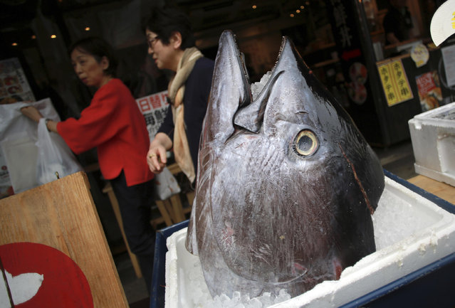 Customers walk past the head of a bluefin tuna in front of a seafood restaurant at Tsukiji fish market in Tokyo Tuesday, May 16, 2017. Criminal and civil cases allege executives at the largest canned tuna companies were agreeing to collectively raise prices and limit promotions. Major retailers are taking aim at the most popular tuna brands in the U.S. – Chicken of the Sea, Bumble Bee and StarKist – saying they conspired to keep prices high for consumers. (Photo by Eugene Hoshiko/AP Photo)