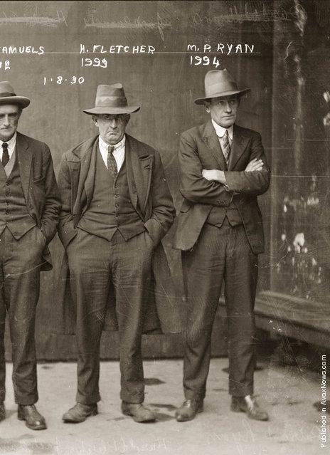 Mug shot of Jack Samuels (obscured), Howard Fletcher and Michael Patrick Ryan, 1 August 1930, Central Police Station, Sydney
