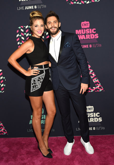 Singer-songwriter Thomas Rhett (R) and wife Lauren Gregory attends the 2016 CMT Music awards at the Bridgestone Arena on June 8, 2016 in Nashville, Tennessee. (Photo by Rick Diamond/Getty Images  for CMT)