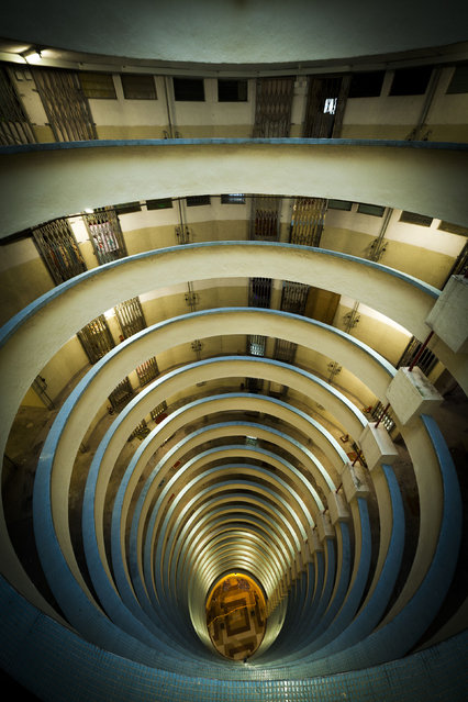 Spiral inner block of apartments in Hong Kong. (Photo by Peter Stewart/Caters News)