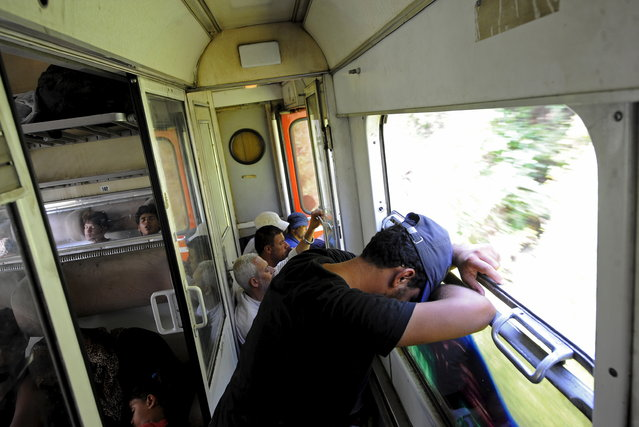 A migrant rests on an overcrowded train as they travel north through Macedonia August 2, 2015. (Photo by Ognen Teofilovski/Reuters)