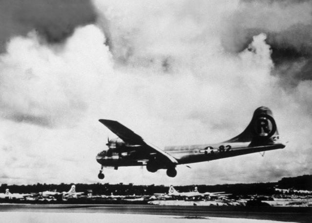 """The B-29 bomber """"Enola Gay"""" in Japan, after bombing Hiroshima, 1945. (Photo by Keystone/Getty Images)"""
