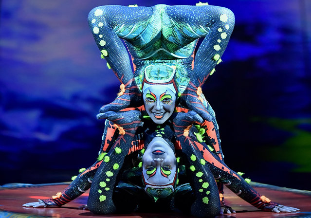 """Artists perform during a dress rehearsal of """"Totem"""", the upcoming show of the """"Cirque du Soleil"""" circus theater company, on August 30, 2017 in Brussels, Belgium. (Photo by Dirk Waem/AFP Photo/Belga)"""