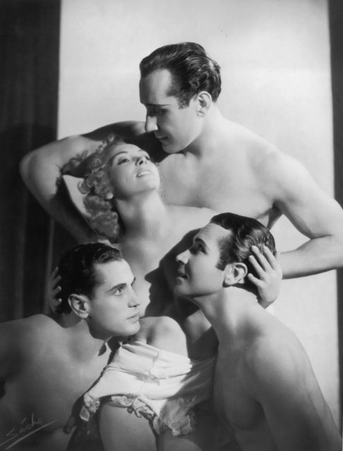 The Ganjou Brothers and Juanita, a group of dancers, posing in a semi naked embrace. On the bottom right is Serge Ganjou (1904–1998) brother of Bob and George. 2nd November 1937. (Photo by Sasha)