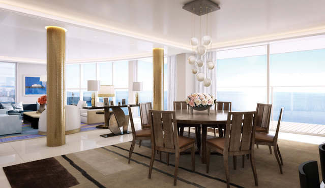 A sitting area is adjacent to dining in the open-living design. (Photo by Tour Odeon)