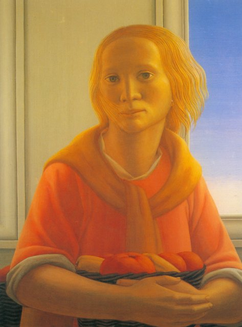 Girl With Basket. Artwork by George Tooker