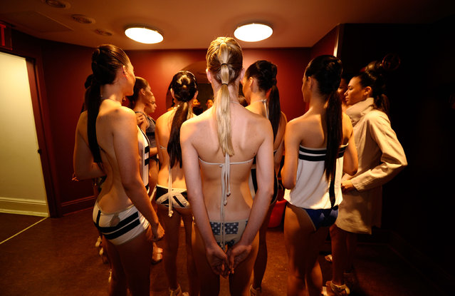 Models backstage at the Swimwear Collective during Mercedes-Benz Fashion Week Spring 2015 at Helen Mills Event Space on September 5, 2014 in New York City. (Photo by Ilya S. Savenok/Getty Images)