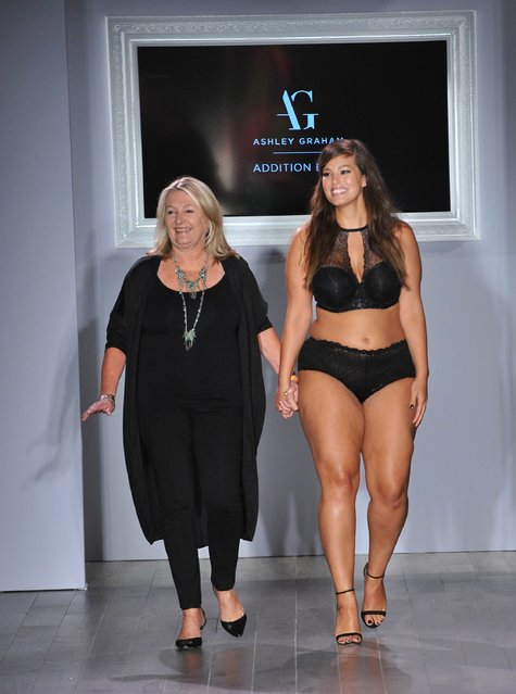 Designer Ashley Graham (R) acknowledges the audience following the Addition Elle/Ashley Graham Lingerie Collection fashion show during the Spring 2016 Style 360 on September 15, 2016 in New York City. (Photo by Fernando Leon/Getty Images)