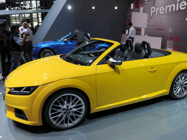 The Audi TTS Roadster is presented at the Audi stand at the Paris Auto Show on October 2, 2014 on the first of the two press days. (Photo by Eric Piermont/AFP Photo)