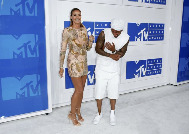 Model Heidi Klum and singer Nick Cannon arrive at the 2016 MTV Video Music Awards in New York, U.S., August 28, 2016. (Photo by Eduardo Munoz/Reuters)