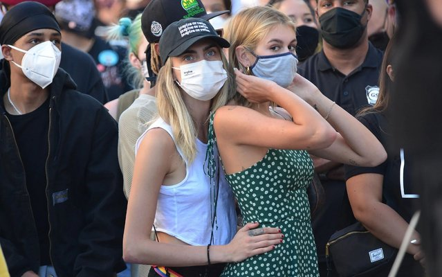 Cara Delevingne and Kaia Gerber at Black Lives Matter Protest in Los Angeles, California, USA on July 15, 2020. (Photo by London Entertainment/Rex Features/Shutterstock)