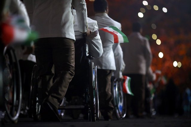 2016 Rio Paralympics, Opening ceremony, Maracana, Rio de Janeiro, Brazil on September 7, 2016. Athletes from Iran take part in the opening ceremony. (Photo by Ricardo Moraes/Reuters)