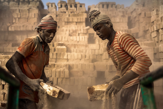 Workers are working in a brick yard in Dhaka, Bangladesh, November 9, 2015. Child labor is also a regular scenario in brick making fields. These children work here for as little as USD 1.5$ per day or even without any payment. They are growing up here without any education facilities too. It seems brick making fields are a symbol of modern slavery and destruction of nature. (Photo by Mohammad Ponir Hossain/NurPhoto via ZUMA Press)