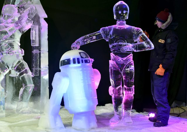 Canada's Yuri Nazarkin carves Star Wars character C-3PO (R) and R2-D2 for the ice sculpture festival in Liege, Belgium, November 13, 2015. (Photo by Eric Vidal/Reuters)