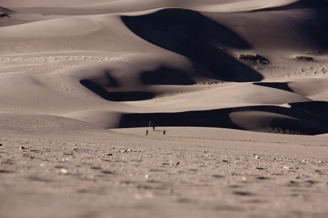 """Great Sand Dunes"". Walking on the dunes looking towards I could appreciate how small we are compared to the dunes. The dunes seems neverending while you walk. Location: Great Sand Dunes NP. (Photo and caption by Matteo Berte/National Geographic Traveler Photo Contest)"