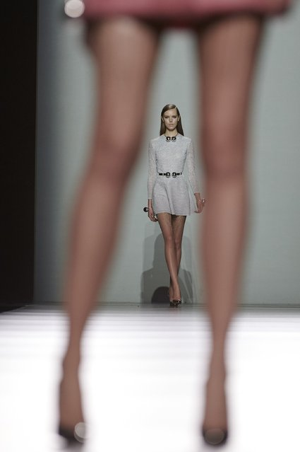 Models walk the runway at the Maria Escote show during Madrid Fashion Week Fall/Winter 2015/16 at Ifema on February 10, 2015 in Madrid, Spain. (Photo by Carlos Alvarez/Getty Images)