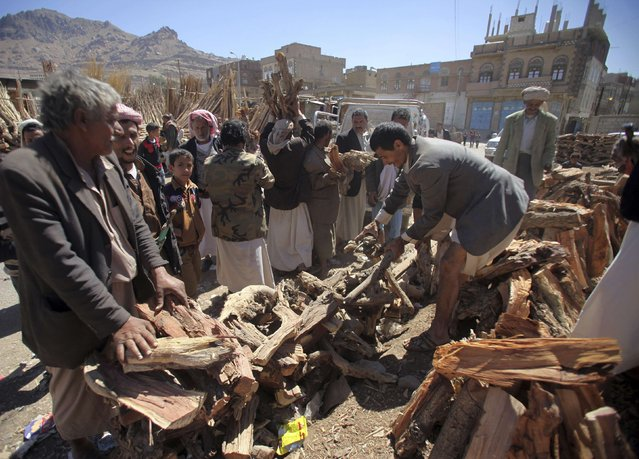 People buy firewood at a market place in Sanaa, Yemen February 8, 2015. According to local media, people are using firewood for cooking amid a shortage in cooking gas supplies. (Photo by Mohamed al-Sayaghi/Reuters)