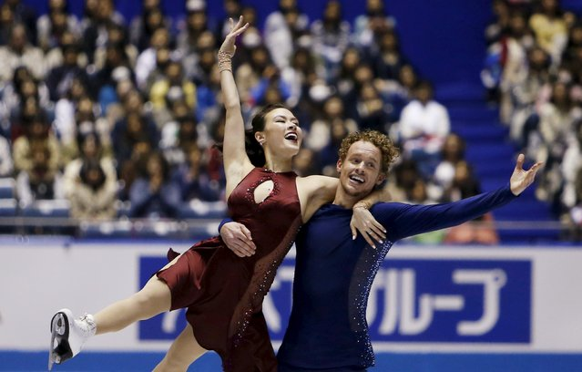 Madison Chock and Evan Bates of the U.S. compete during the ice dance free dance program at the ISU World Team Trophy in Figure Skating in Tokyo April 17, 2015. (Photo by Yuya Shino/Reuters)